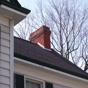Black shingled roof with chimney