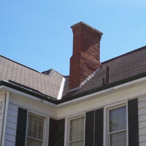 Chimney in the corner of roof
