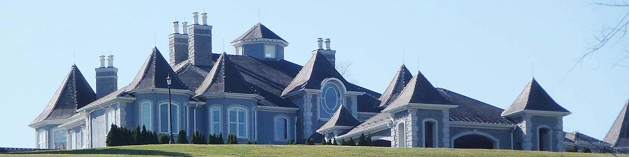 Large gray bungalow