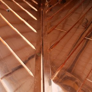Copper roof corner