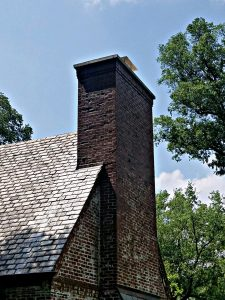 Restored brick chimney