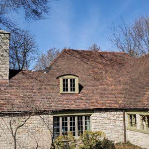 Restored stone chimney.